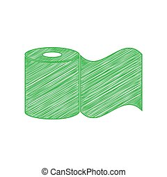 Toilet Paper sign. Green scribble Icon with solid contour on...
