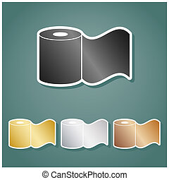 Toilet Paper sign. Set of metallic Icons with gray, gold, silver and bronze gradient with white contour and shadow at viridan background. Illustration.