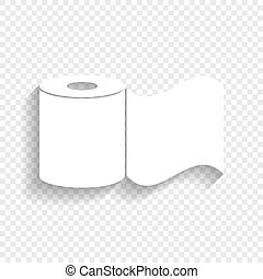 Toilet Paper sign. Vector. White icon with soft shadow on ...