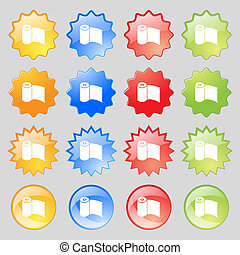 Toilet paper, WC roll icon sign. Big set of 16 colorful modern buttons for your design.