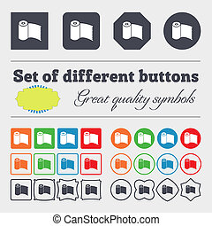 Toilet paper, WC roll icon sign. Big set of colorful, diverse, high-quality buttons.