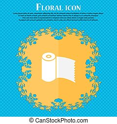 Toilet paper, WC roll icon sign. Floral flat design on a blue abstract background with place for your text. Vector