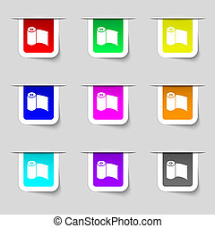 Toilet paper, WC roll icon sign. Set of multicolored modern labels for your design.