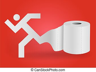 Toilet paper with icon of running man. - Illustration of ...