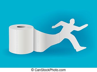 Toilet paper with running man - Silhouette of running man...