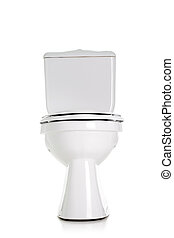 toilet - closed toilet, front view, isolated on white