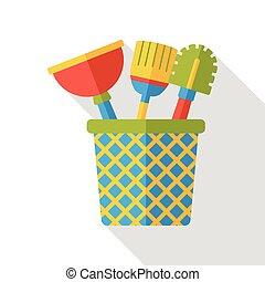 Toilet plunger and brush flat icon