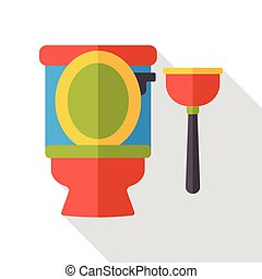 Toilet plunger flat icon