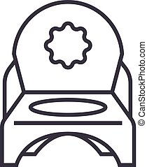 toilet potty vector line icon, sign, illustration on background, editable strokes
