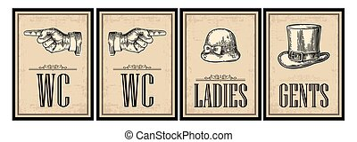 Toilet retro vintage grunge poster. Ladies, Cents, Pointing finger. Vector vintage engraved illustration on a beige background. For bars, restaurants, cafes, pubs.