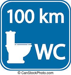toilet, roadsign