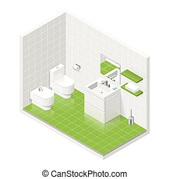 Toilet room isometric icon set