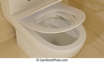 Automatic lowering of the toilet seat
