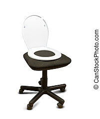 Toilet seat lid on the chair