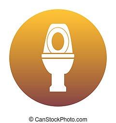 Toilet sign illustration. White icon in circle with golden gradi
