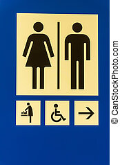 Toilet sign on a blue background