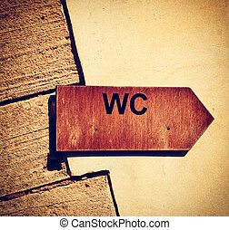 Toilet sign - Toilet wooden sign pointer in vintage style