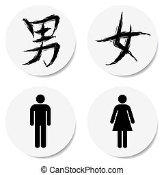 toilet sign with chinese character, in sticker form.