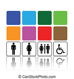 toilet signs, man and woman
