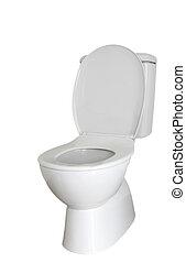 Toilet - Closeup of toilet isolated on plain background