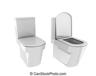toilet, on the white background