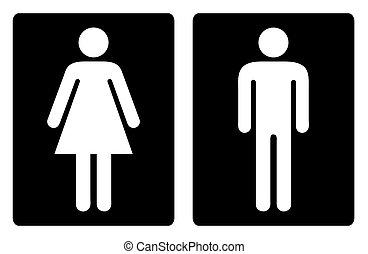 toilet, symbolen, eenvoudig