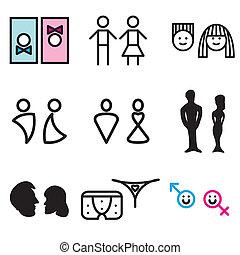 toilet, symbolen, hand, getrokken, iconen