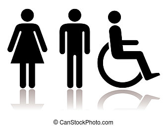 Toilet symbols disabled - Black and white figures male...