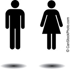 man and woman symbols for toilets, washrooms, restroom, lavatory. isolated on white background