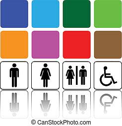 toilet, tekens & borden, man en vrouw