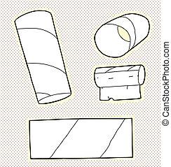 Toilet Tissue Tubes - Series of black and white toilet paper...