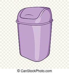 Toilet trash icon, cartoon style