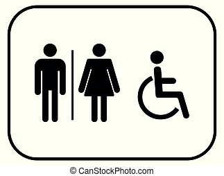 toilet vector icons set, male , female and disabled restroom wc