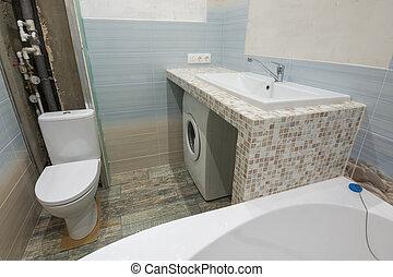 toilet, verstelt, was, onafgewerkt, wasbak, machine, daar, kom, onder, voetstuk, badkamer
