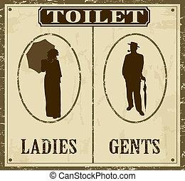Toilet vintage poster - Toilet vintage grunge poster, vector...