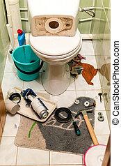 toilet, werken, verstelt, voortgang