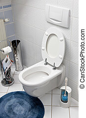 Toilet with an open toilet seat