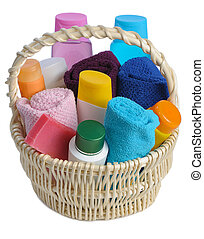 toiletries in backet - set of toiletries in basket isolated ...