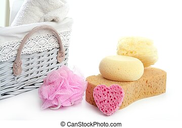 Toiletries stuff sponge gel shampoo towels