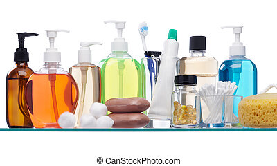 toiletries - various personal hygiene products on glass ...