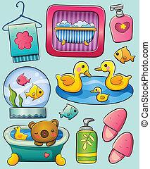 Toiletry - cute cartoon illustration of various toiletry