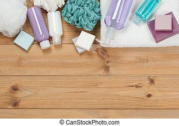 toiletry, set., barra sapone, e, liquid., shampoo, doccia,...
