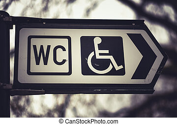 Toilets icon Public restroom signs with a disabled access symbol