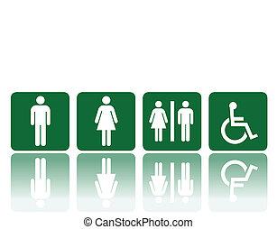 toilets signs - symbols for toilet, washroom, restroom,...