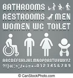 toilette, alphabet, plié, symboles, papier, ws