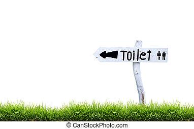 toilette, bois, signe, blanc vert, herbe