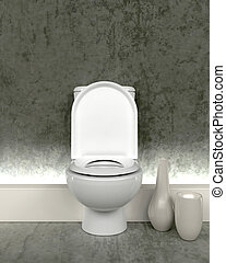 toilette, contemporain, render, 3d