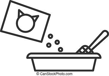 toilette, contour, filler, isolé, cat., chat, arrière-plan., noir, ligne blanche, icône