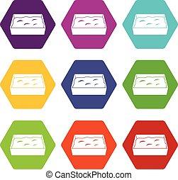 toilette, ensemble, couleur, hexahedron, chat, icône
