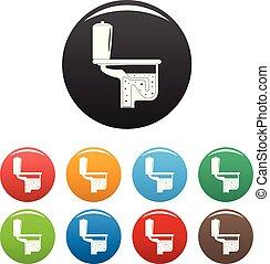 toilette, ensemble, icônes, couleur, équipement, vecteur